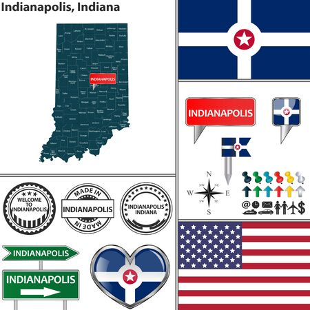 indianapolis: Vector set of Indianapolis Indiana in USA with flag and icons on white background