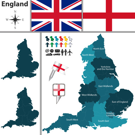Vector map of England with regions and flags