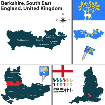 windsor: Vector map of Berkshire South East England United Kingdom with regions and flags