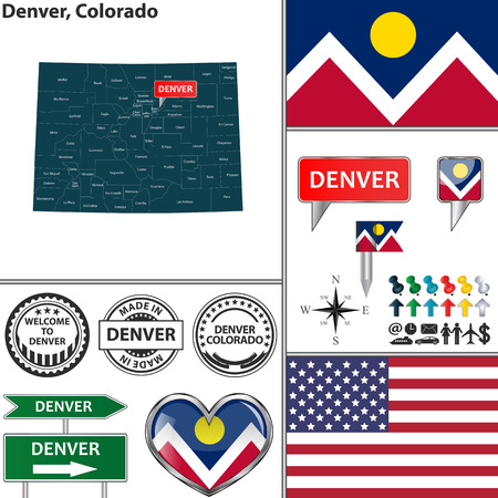 denver: Vector set of Denver Colorado in USA with flag and icons on white background