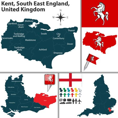 england map: Vector map of Kent South East England United Kingdom with regions and flags
