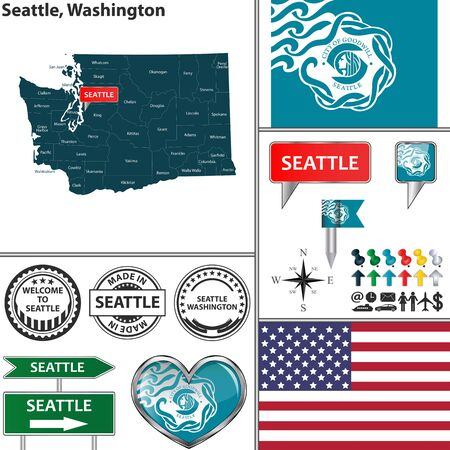 seattle: Vector set of Seattle Washington in USA with flag and icons on white background
