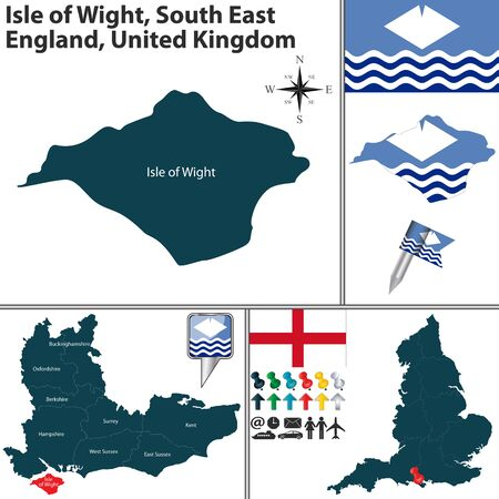 regions: Vector map of Isle of Wight South East England United Kingdom with regions and flags