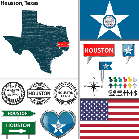 map icon: Vector set of Houston Texas in USA with flag and icons on white background Illustration