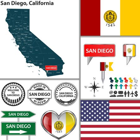 san diego: Vector set of San Diego California in USA with flag and icons on white background