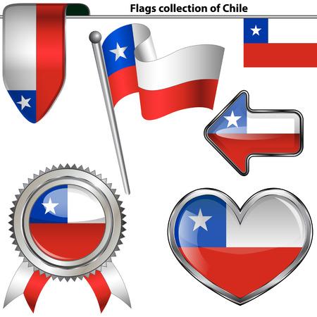 Vector glanzende pictogrammen van de vlag van Chili op wit