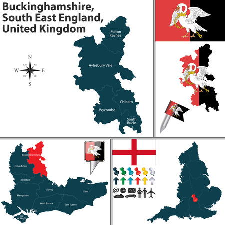 south east: Vector map of Buckinghamshire, South East England, United Kingdom with regions and flags