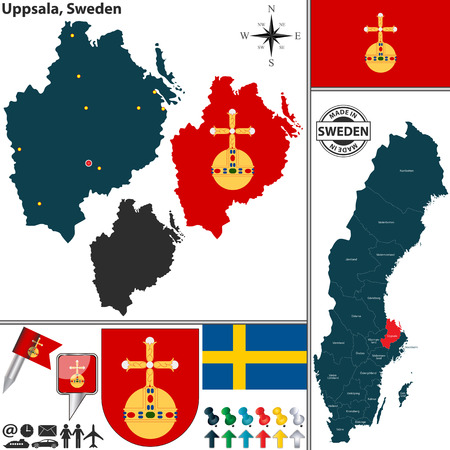 sweden map: Vector map of county Uppsala with coat of arms and location on Sweden map