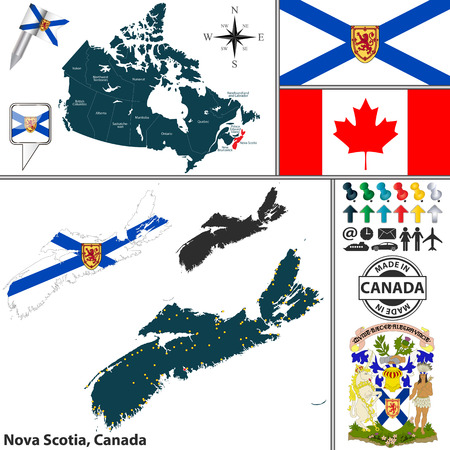 Vector map of state Nova Scotia with coat of arms and location on Canadian map