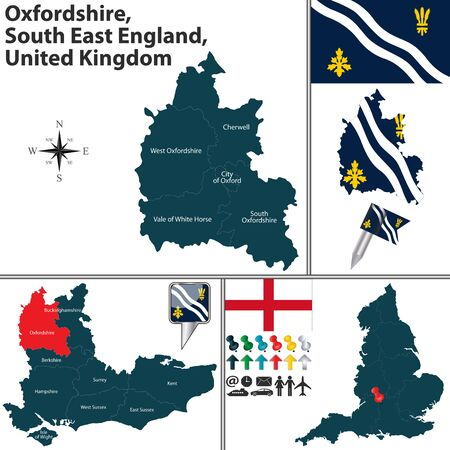 regions: Vector map of Oxfordshire, South East England, United Kingdom with regions and flags