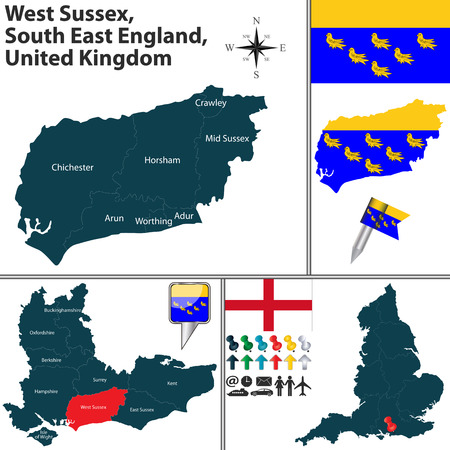 west sussex: Vector map of West Sussex, South East England, United Kingdom with regions and flags Illustration