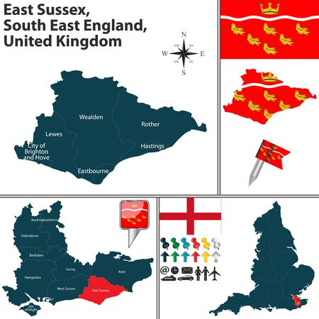 south east: Vector map of East Sussex, South East England, United Kingdom with regions and flags