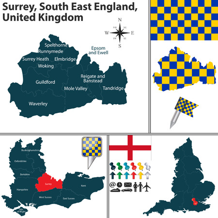 south east: Vector map of Surrey, South East England, United Kingdom with regions and flags