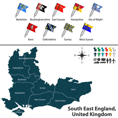south west england: Vector map of South East England, United Kingdom with regions and flags
