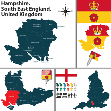 south east: Vector map of Hampshire, South East England, United Kingdom with regions and flags