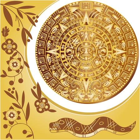 アステカ カレンダー古代装飾品のベクトル  イラスト・ベクター素材