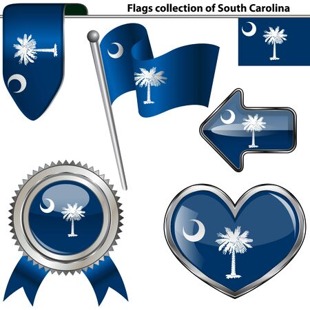 glossy icons: Vector glossy icons of flag of South Carolina on white Illustration