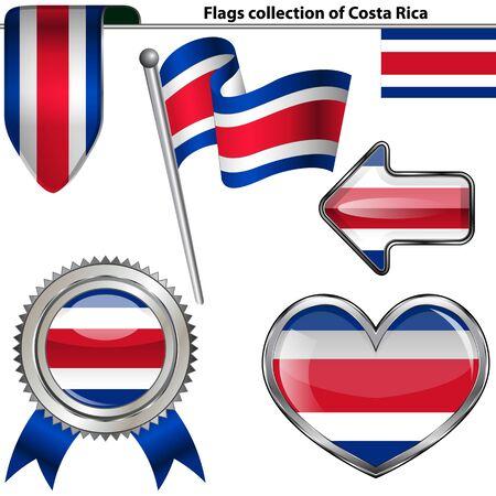 rican: Iconos brillantes de la bandera de Costa Rica en blanco Vector