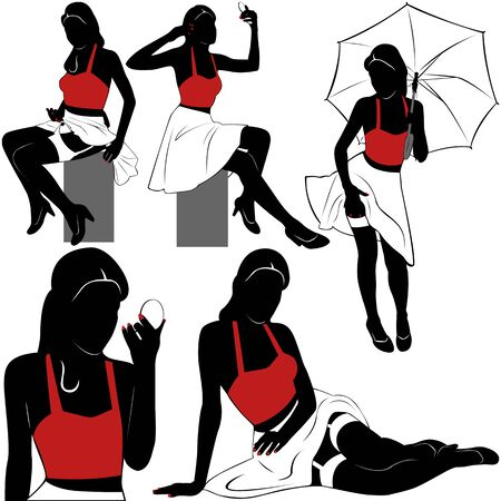 beauty girls: Vector of silhouettes of pin up sexy girls on white background Illustration