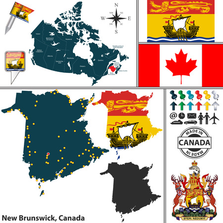 canadian state flag: Vector map of state New Brunswick with coat of arms and location on Canadian map