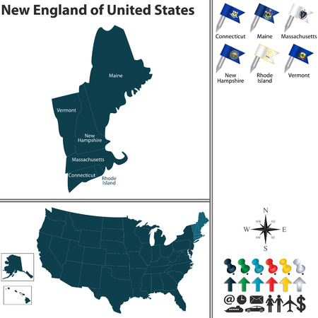 england: Vector set of New England of United States with flags and map on white background