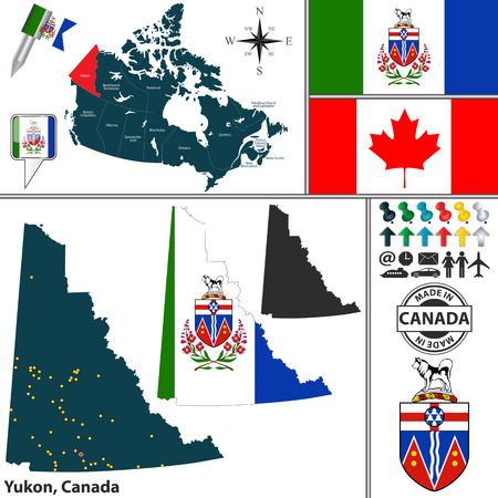 whitehorse: Vector map of state Yukon with coat of arms and location on Canadian map