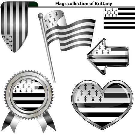 brittany: Vector glossy icons of flag of Brittany on white Illustration