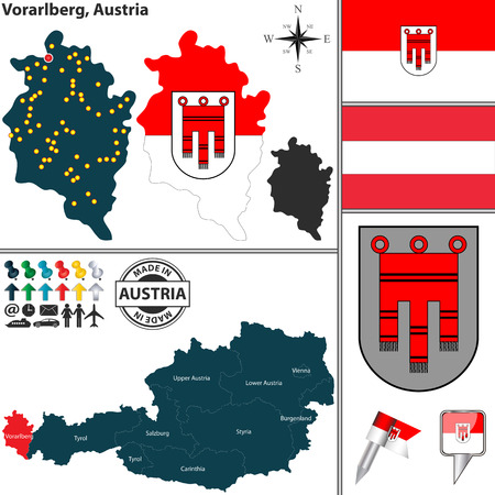 austrian flag: Vector map of state Vorarlberg with coat of arms and location on Austrian map