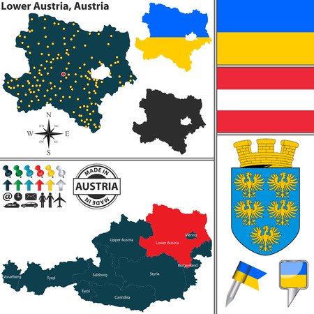 austrian: Vector map of state Lower Austria with coat of arms and location on Austrian map