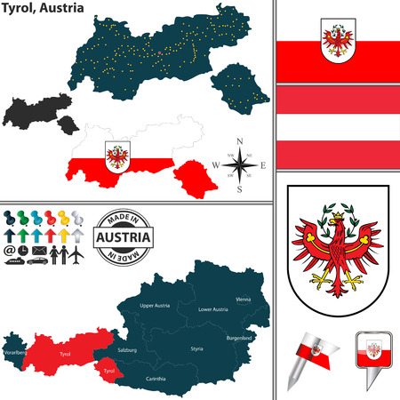 tyrol: Vector map of state Tyrol with coat of arms and location on Austrian map