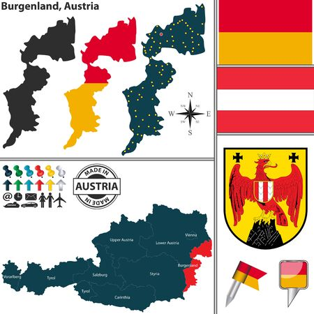 austrian: Vector map of state Burgenland with coat of arms and location on Austrian map