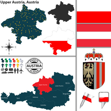 upper austria: Vector map of state Upper Austria with coat of arms and location on Austrian map Illustration