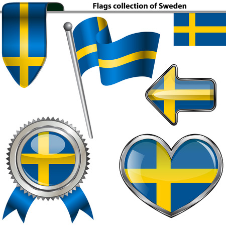 pushbutton: Vector glossy icons of flag of Sweden on white