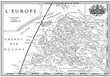 xviii: Vector of old European map with coordinate system, XVIII century