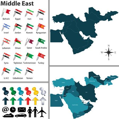 Vector de mapa político de Oriente Medio establecido con banderas en el fondo blanco