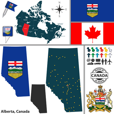 calgary: Vector map of state Alberta with coat of arms and location on Canadian map Illustration