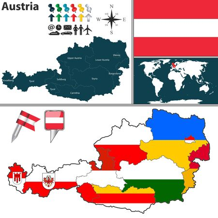 regions: Vector map of Austria with regions with flags on white Illustration