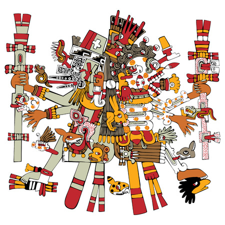 Vector of Aztec god Tezcatlipoca, ancient mesoamerican ornament