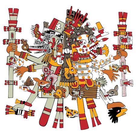 Vector of Aztec god Tezcatlipoca, ancient mesoamerican ornament