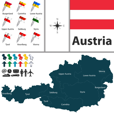 tyrol: Vector map of Austria with regions with flags on white Illustration