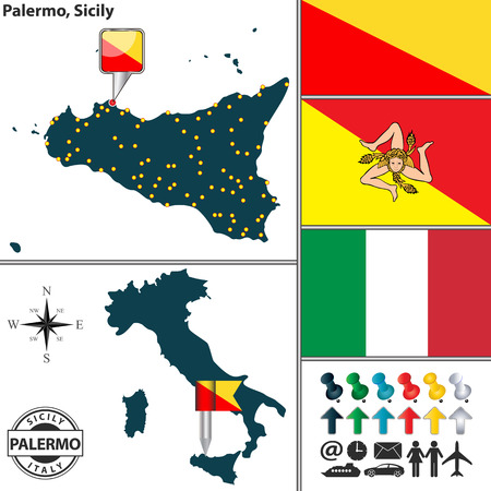 region sicilian: Vector map of region Sicily with coat of arms and location on Italy map