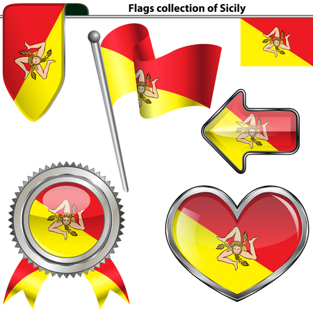 Vector glossy icons of flag of Sicily on white