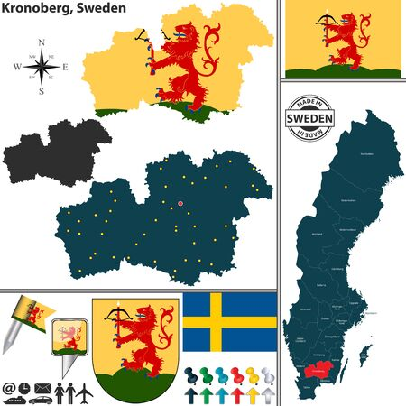 sweden map: map of county Kronoberg with coat of arms and location on Sweden map