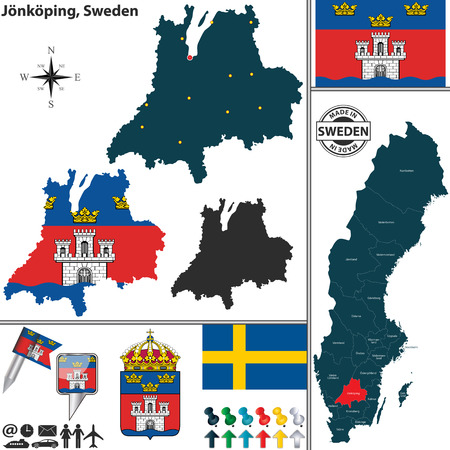 sweden map: map of county Jonkoping with coat of arms and location on Sweden map Illustration
