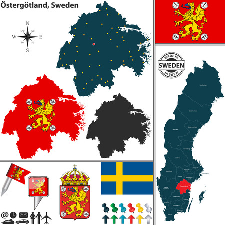 condado: map of county Ostergotland with coat of arms and location on Sweden map Ilustra��o