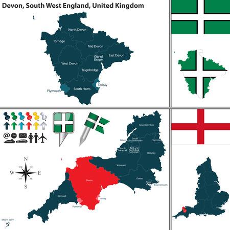 jamones: mapa de Devon en el suroeste de Inglaterra, Reino Unido con las regiones y banderas