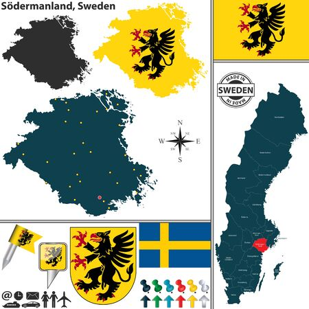 map sweden: map of county Sodermanland with coat of arms and location on Sweden map