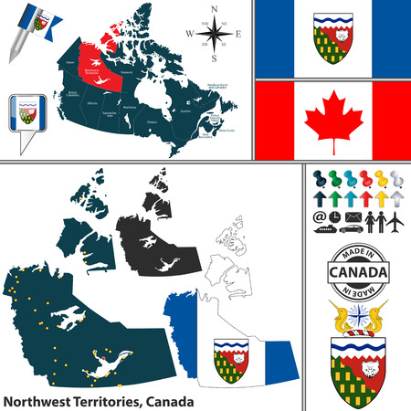 northwest: map of state Northwest Territories with coat of arms and location on Canadian map
