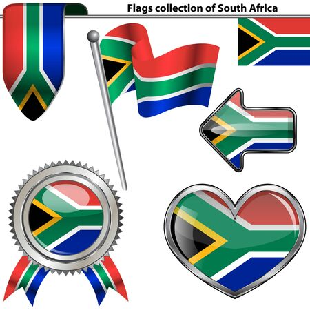 glossy icons of flag of South Africa on white