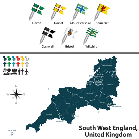 devon: map of South West England, United Kingdom with regions and flags